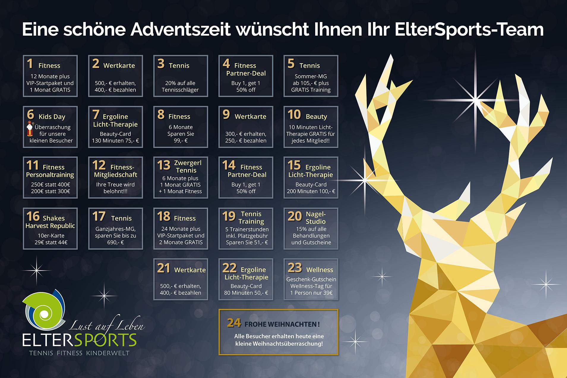 ElterSports Adventskalender 2019 Schenken und Sparen