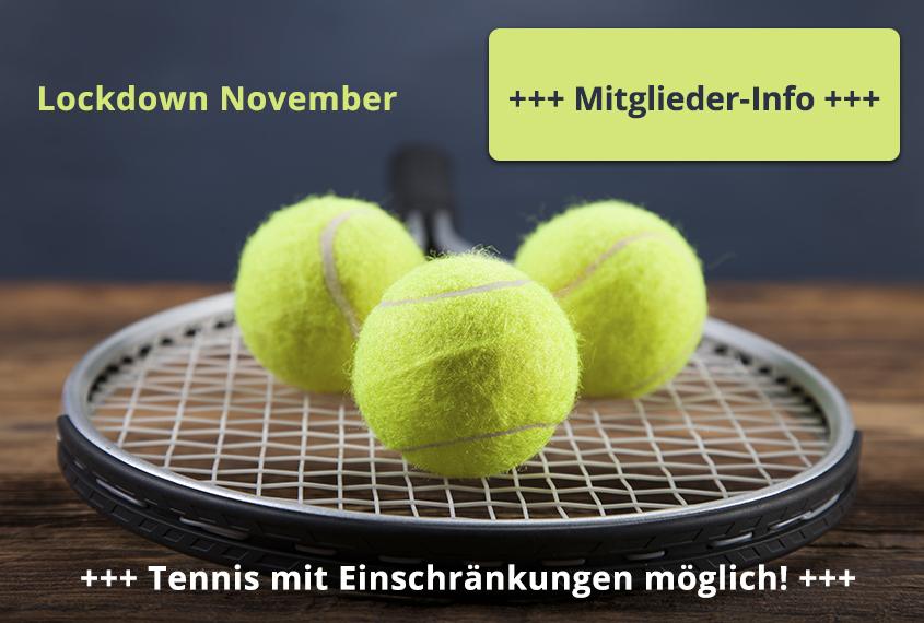 Tennis Mitglieder Informationen Lockdown November 2020